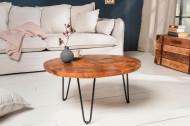 Handgemaakte salontafel MOSAIK 70cm teak met haarspeldpoten