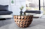 Handgemaakte salontafel PURE NATURE 70cm rond teakhout met glazen blad