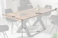 Industriële uitschuifbare eettafel 160-210 cm eiken look model Montreal met X-poten