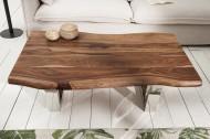 Massief boomstam salontafel GENESIS 110cm acacia massief houten boomrand met slede onderstel industriële afwerking