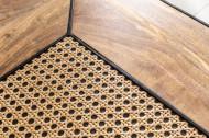 massiev mangohout salontafels VIENNA LOUNGE set van twee 50 cm met vlechtwerk