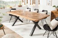Massieve eettafel INFINITY HOME 200 cm naturel mangohout industrieel design