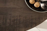 Massieve eettafel IRON CRAFT 80cm ronde grijs mangohouten gebogen poten