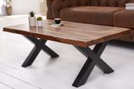 Massieve salontafel met boomrand AMAZONAS 110 cm bruin sheesham met X-frame