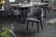 Modern Stoel in grijs fluweel sierstiksel en gouden voetdoppen