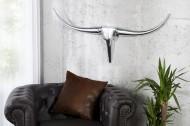 Moderne design wanddecoratie BULL L 100 cm zilver aluminium stierenkop