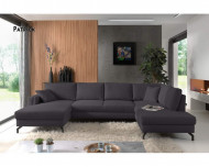 Moderne Lounge Hoekbank Stof Donkergrijs, Panoramische Salon Stof Donkergrijs 348 cm