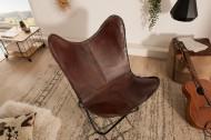 Retro fauteuil BUTTERFLY bruin met echt leren bekleding zwart frame