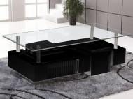 Salontafel met 2 Hockers Zwart BOLD 130 cm