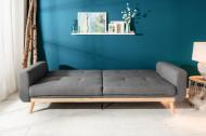 Design 3-zits slaapbank SKAGEN antraciet 215 cm Scandinavisch design bedfunctie
