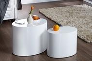 Design bijzettafel set van 2 DIVISION 50cm hoogglans witte ovale salontafel