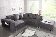 Design hoekbank met Hocker LIBERTY structuur, materiaal: antraciet grijs
