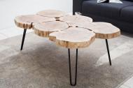 Design salontafel GOA 110cm acacia boomstam plakjes 4 cm tafelblad