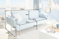 Design slaapbank DIVANI 215cm lichtblauw bedfunctie 3-zits bank Scandinavisch design