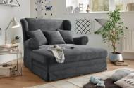Design XXL Loveseat fauteuil MELBOURNE antraciet corduroy met kussenvleugel