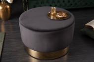 Elegante Poef/salontafel MODERN BAROQUE 55 cm fluweel zwart gouden