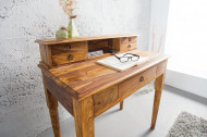 Elegante secretaresse 90 cm Sheesham massief houten bureau