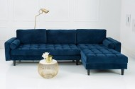 Extravagante Chesterfield-ontwerp hoekbank met 3 plaatsen COSY VELVET donkerblauwe fluwelen kernzithoek