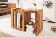 Handgemaakte bijzettafel S 60 cm Sheesham massief hout variabel instelbaar
