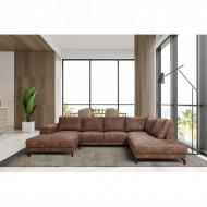 Hoekbank Bruin - U Bank - Loungebank - Panoramische Salon 350 cm