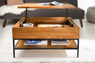 Industriële salontafel FACTORY LIFTUP 80 cm mangohout met scharnierend blad