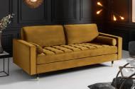 Luxe design 3-zitsbank 225 cm zitcomfort pocketvering bekleding stof fluweel mosterdgeel
