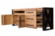 Massief dressoir BIG 195 cm grenen hout industrieel design met flessenhouder