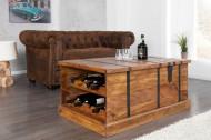 Massief houten salontafel Kist 100 cm Sheesham welke ruimte bied voor 8 flessen wijn