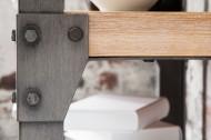 Massieve design boekenkast FACTORY 180cm acacia teak grijs wit gehoogd met metalen behuizing