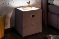Modern nachtkastje BOUTIQUE 43 cm grijs fluweel met lade indirecte verlichting