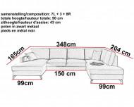 Moderne Lounge Hoekbank , Moderne Panoramische Salon Stof Licht Grijs 348 cm