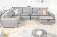 Moderne U bank TAILORS CUT XXL 340 cm donkergrijze met slaapfunctie.lounge gedeelte aan beide zijden op te monteren.
