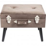 Nachtkastje Koffer grijze poef