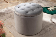 Poef met opbergruimte zilver grijs fluwelen 50 cm