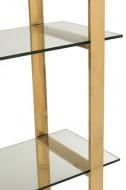 Rek 4schap Kruis Roestvrij Staal/Getemperd Glass Goud/Transparant 180cm