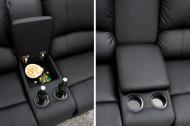 Relaxbank beidekanten relaxfunctie met Bekerhouder Bioscoopbank kleur Zwart