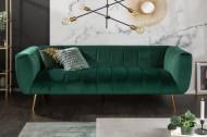 Retro bank 3 zits fluweel stof smaragdgroen NOBLESSE 225 cm