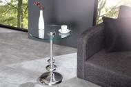 Ronde zilveren DWARSFLUIT bijzettafel met hoogwaardig glasplaat & metaal-aluminiumlaag