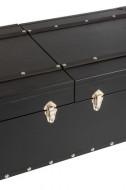 Salontafel koffer Bar/Hout/Pu Leder Zwart 121cm