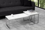 Set van 2 design salontafel ELEMENTS 100cm wit hoogglans chroom