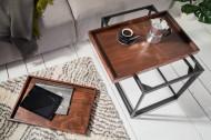Set van 2 industriële salontafels 60 cm mokka beuken verwijderbaar blad