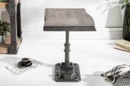 Authentieke bijzettafel FACTORY 43 cm acacia grijs massief hout industrieel design