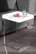 Design bijzettafel CIANO 40cm wit chroom dienbladtafel
