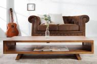 Design salontafel RETRO 110cm Sheesham Stone Finish tv-plank design klassieker