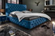 Elegant fluweelstof donkerblauw bed PARIS 160x200cm