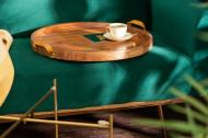 Elegante bijzettafel MONSOON 55 cm verguld acaciahout afneembaar blad
