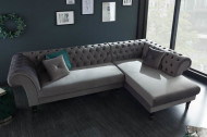 Elegante Chesterfield hoekbank PARIS 290 cm zilvergrijs fluweel stof met 2 kussens