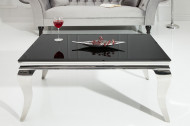 Elegante salontafel MODERN BAROQUE 100cm zilver met zwart opaal glas