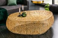 Filigraan design salontafel LEAF 122cm goud handgemaakt Leverbaar in Medio JUNI
