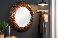 Glanzende spiegel STONE MOSAIC 82 cm koper handgemaakte mozaïek optiek